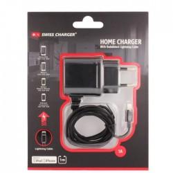Swiss Charger Chargeur Secteur lightning pour iPhone 5/5/6/6+ Noir