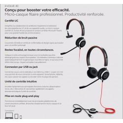 GN AUDIO Casque Jabra Evolve 40 - Filaire - Design sur tête - Stéréo - Supra-Aural - Elimination bruit Microphone - USB Mini Jac