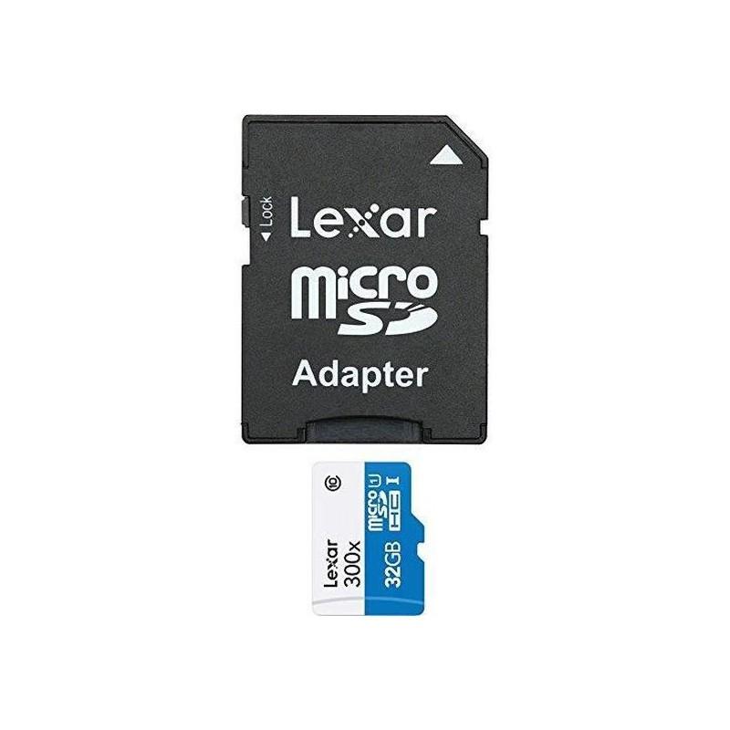 Lexar LSDMI32GBB1EU300A Carte mémoire Micro SDHC UHS-I 300 x 45 Mo-s avec Adaptateur SD 32 Go