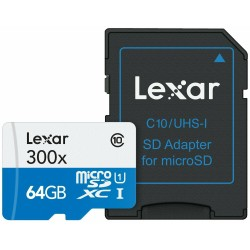 LEXAR Carte Micro-SDXC 64 Go Class 10 300X avec adaptateur / lecteur de carte